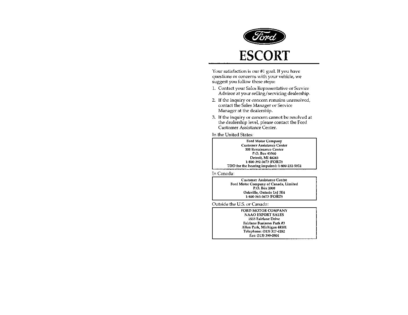 ford escort owners manual  give   damn manual