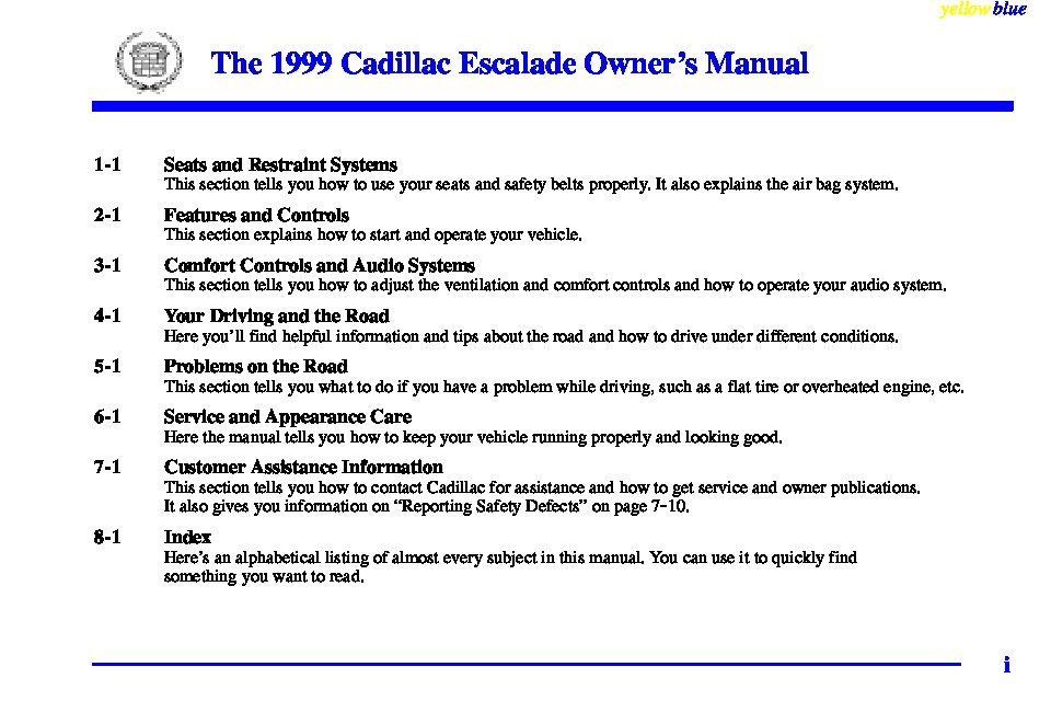 1999 cadillac escalade owners manual just give me the damn manual rh justgivemethedamnmanual com 2020 Cadillac Escalade 2002 Cadillac Escalade