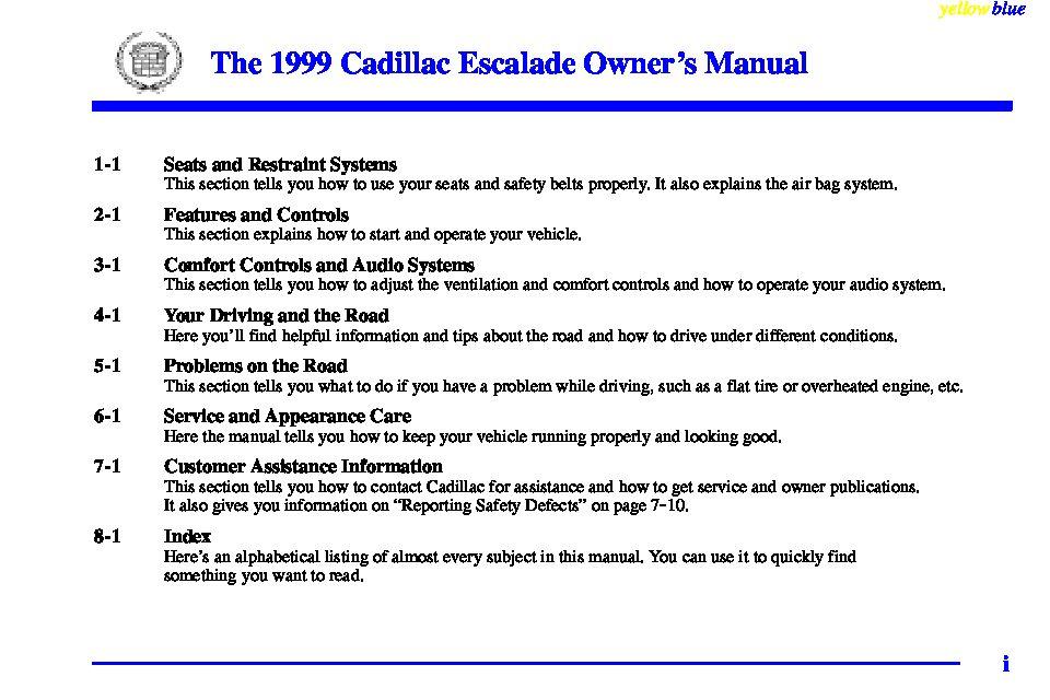 1999 cadillac escalade owners manual just give me the damn manual rh justgivemethedamnmanual com 2002 Cadillac Escalade 2001 Cadillac Escalade