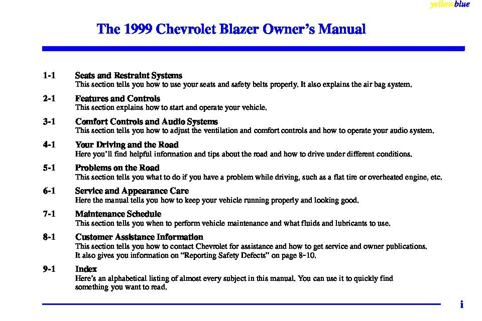 1999 chevrolet blazer owners manual just give me the damn manual rh justgivemethedamnmanual com 2001 Chevrolet Blazer 1999 chevy blazer service manual