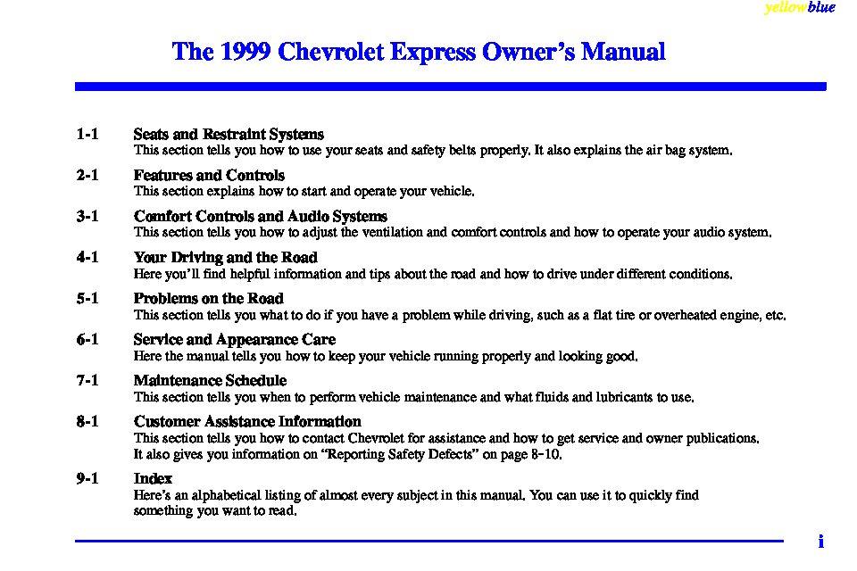 1999 chevrolet express owners manual just give me the damn manual rh justgivemethedamnmanual com 1999 chevy express van owner's manual 1999 chevy express 1500 service manual