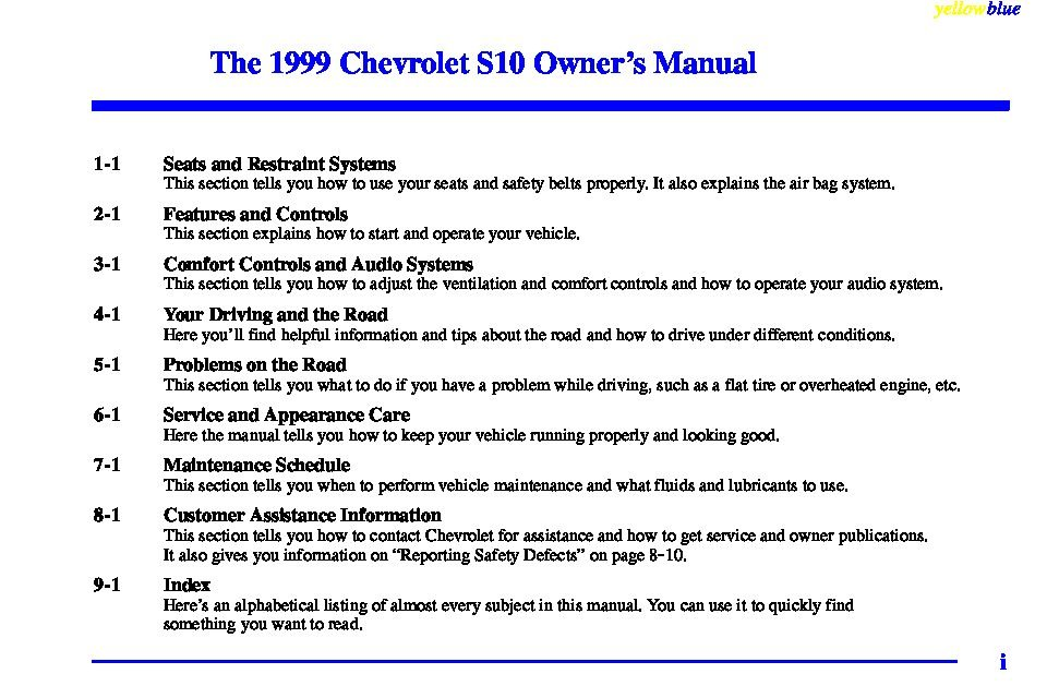 1999 chevrolet s10 owners manual just give me the damn manual rh justgivemethedamnmanual com 2000 Chevy S10 1995 Chevy S10