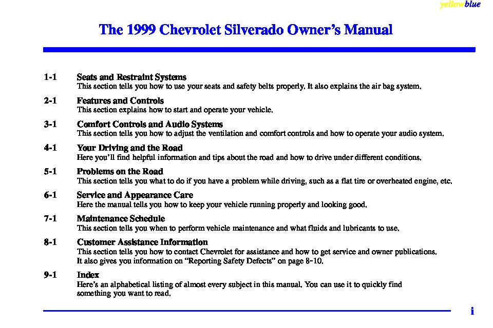 1999 chevrolet silverado owners manual just give me the damn manual rh justgivemethedamnmanual com 1999 chevrolet silverado 1500 z71 owners manual 1998 Chevrolet Silverado 1500