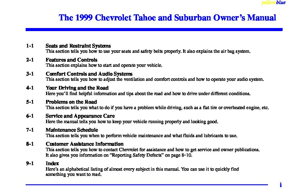 1999 chevrolet tahoe owners manual just give me the damn manual rh justgivemethedamnmanual com Chevrolet Tahoe 2018 Chevrolet Tahoe 2018