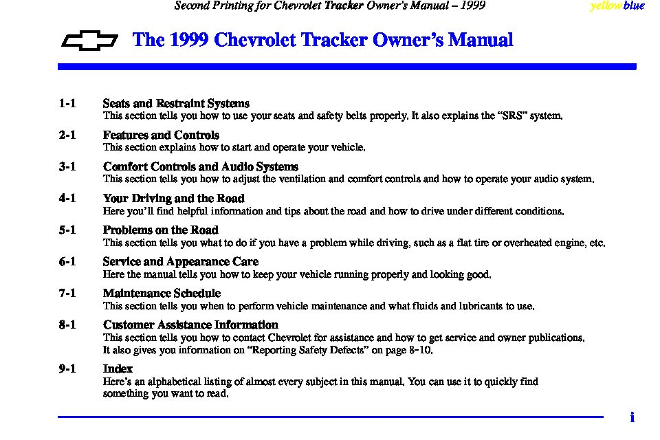 1999 chevrolet tracker owners manual just give me the damn manual rh justgivemethedamnmanual com 2002 Chevrolet Tracker 2000 Chevrolet Tracker