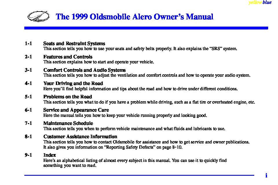1999 oldsmobile alero owners manual just give me the damn manual rh justgivemethedamnmanual com 1999 oldsmobile aurora repair manual pdf 1999 oldsmobile alero owners manual