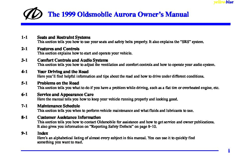 1999 oldsmobile aurora owners manual just give me the damn manual rh justgivemethedamnmanual com 1999 oldsmobile aurora owner's manual 2001 Oldsmobile Aurora