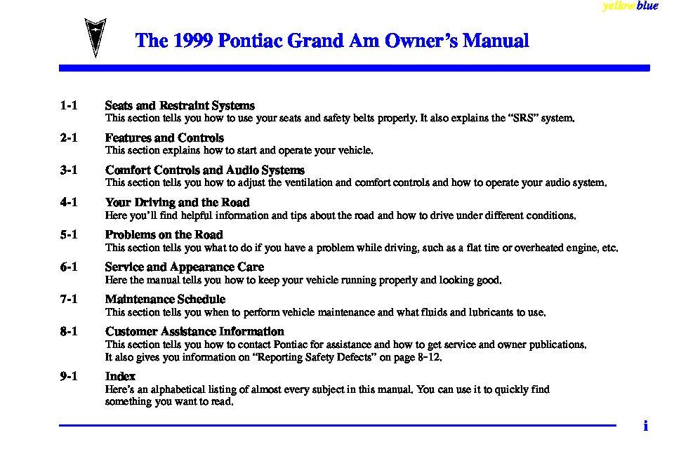 1999 pontiac grand am owners manual just give me the damn manual rh justgivemethedamnmanual com 2005 Pontiac Grand AM 1999 Pontiac Grand AM