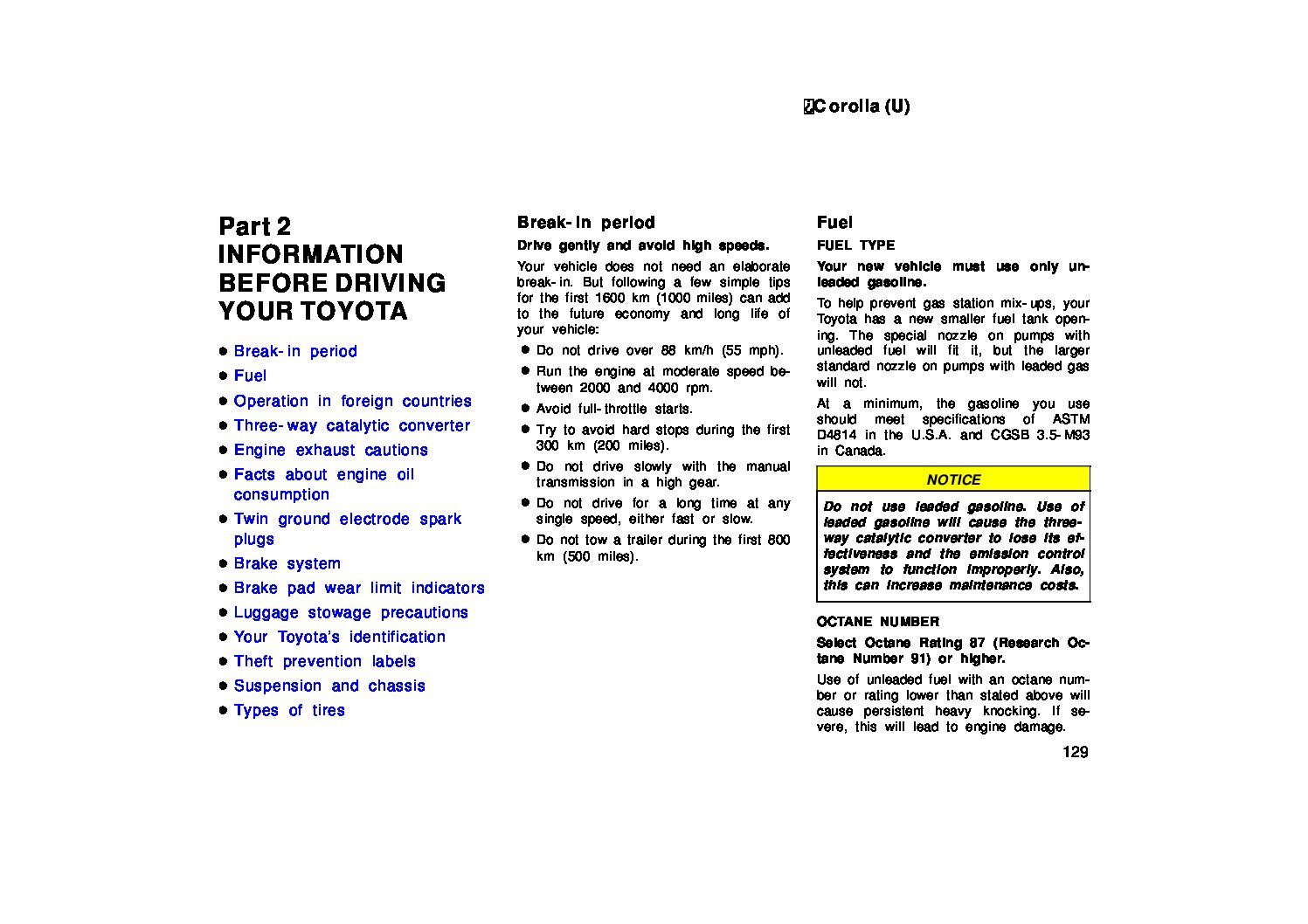 Toyota Corolla Repair Manual: Precaution