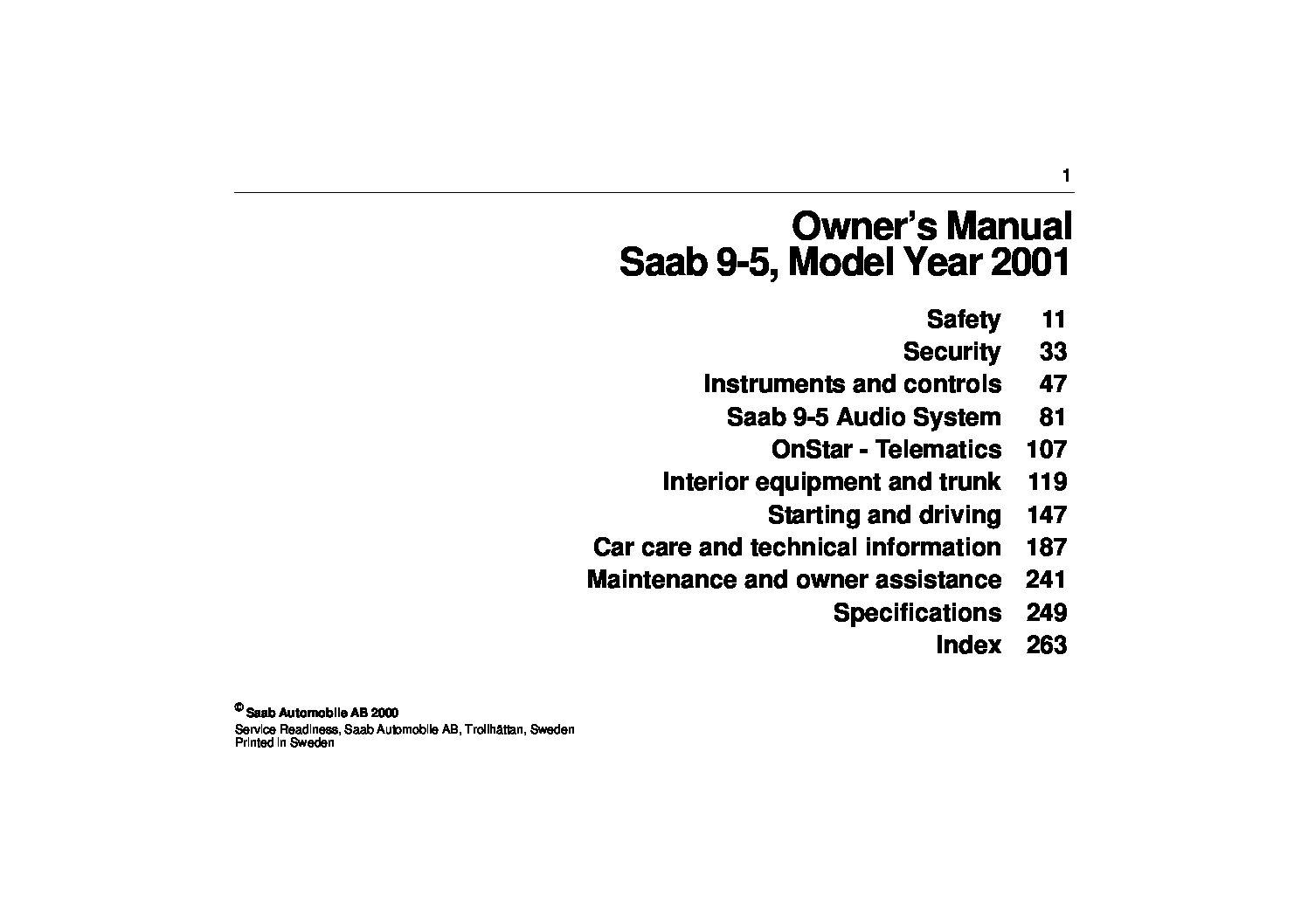 01 2001 Saab 95 owners manual