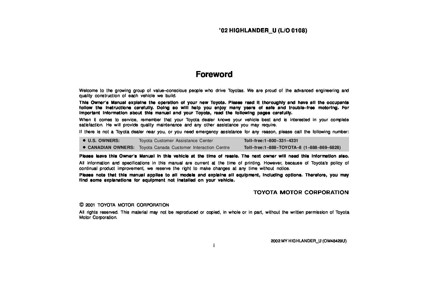 2002 toyota highlander owners manual just give me the damn manual rh justgivemethedamnmanual com Toyota Highlander Service Manual PDF 2016 Toyota Highlander Owner Manual