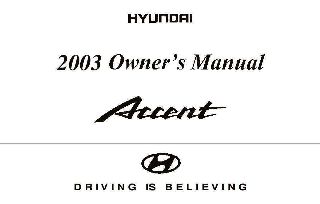 2003 hyundai accent owners manual