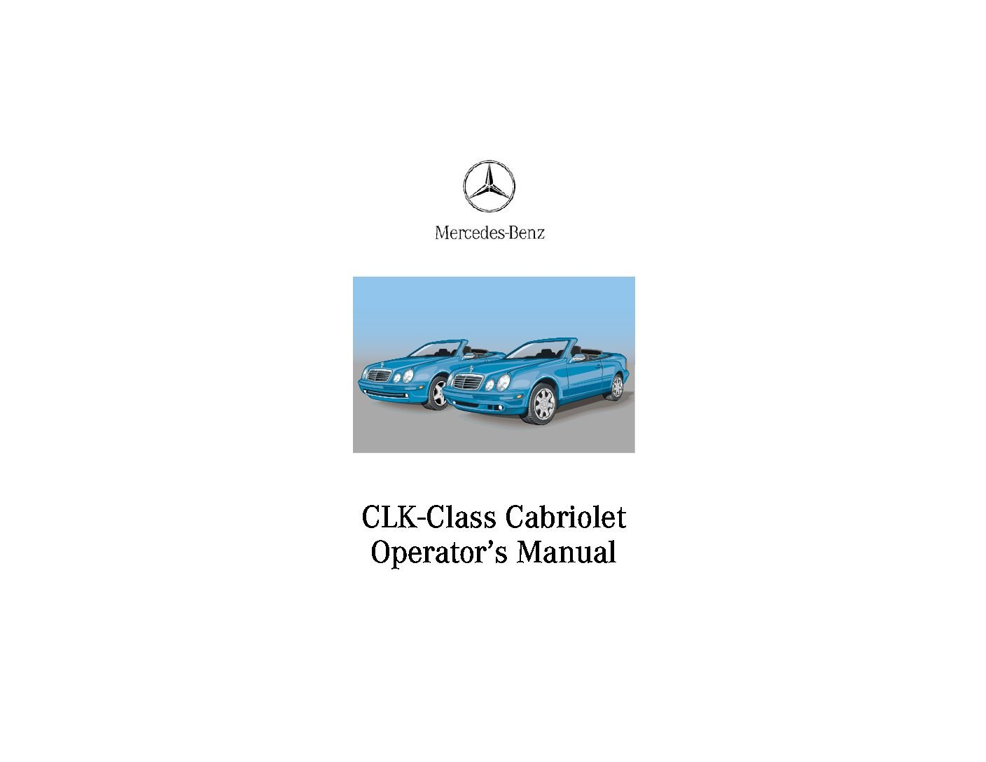 mercedes benz clk class cabriolet owners manual