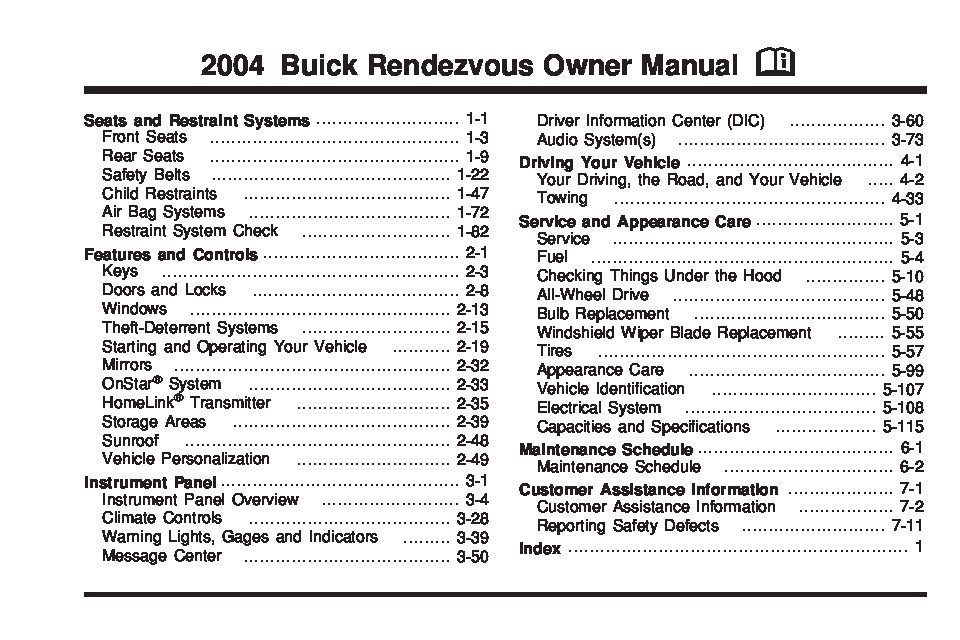 2004 buick rendezvous owners manual just give me the damn manual rh justgivemethedamnmanual com 2005 buick rendezvous owner's manual 2003 buick rendezvous owner's manual