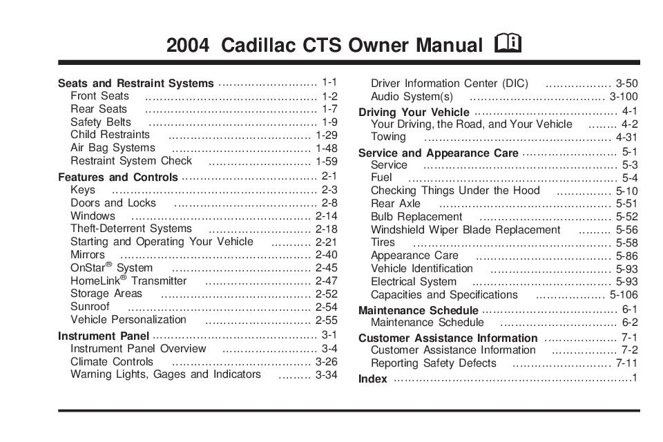 2004 cadillac cts owners manual just give me the damn manual rh justgivemethedamnmanual com 2006 cadillac cts owners manual free 2006 cadillac sts owners manual