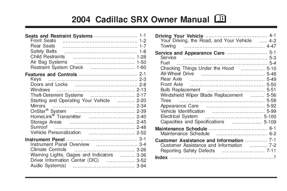 2004 cadillac srx owners manual just give me the damn manual rh justgivemethedamnmanual com 2014 cadillac srx owners manual 2004 cadillac srx owners manual