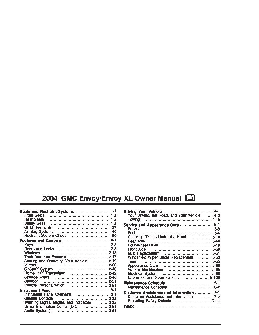 gmc envoy xl sle owners manual owners manual