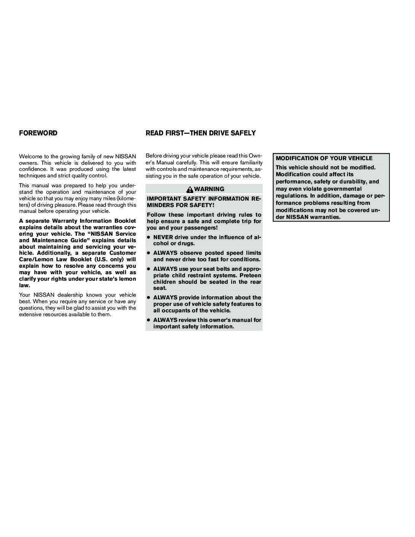 2004 Nissan Maxima Owneru0027s Manual