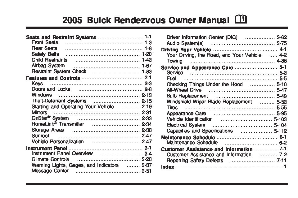 2005 buick rendezvous owners manual just give me the damn manual rh justgivemethedamnmanual com 2005 buick rendezvous owner's manual .pdf 2004 buick rendezvous service manual