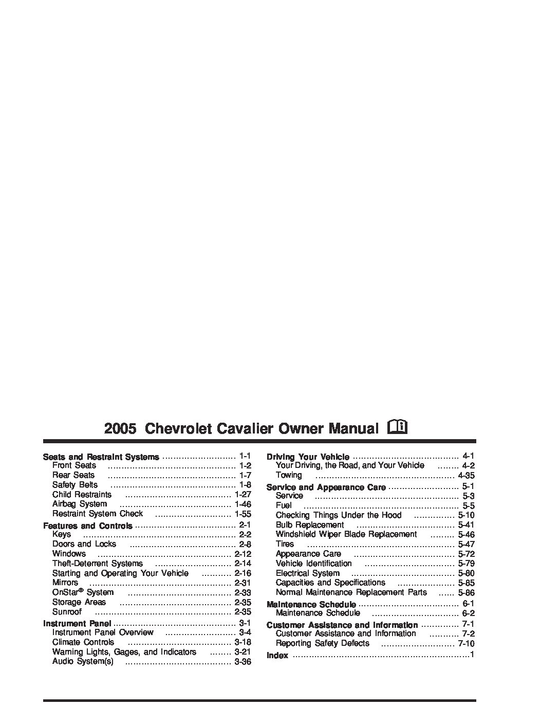 2005 chevrolet cavalier Owners Manual | Just Give Me The Manual