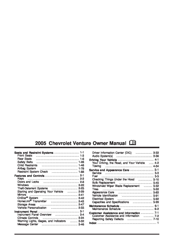 2005 chevrolet venture owners manual just give me the damn manual rh justgivemethedamnmanual com 2002 chevy venture owners manual chevy venture service manual pdf