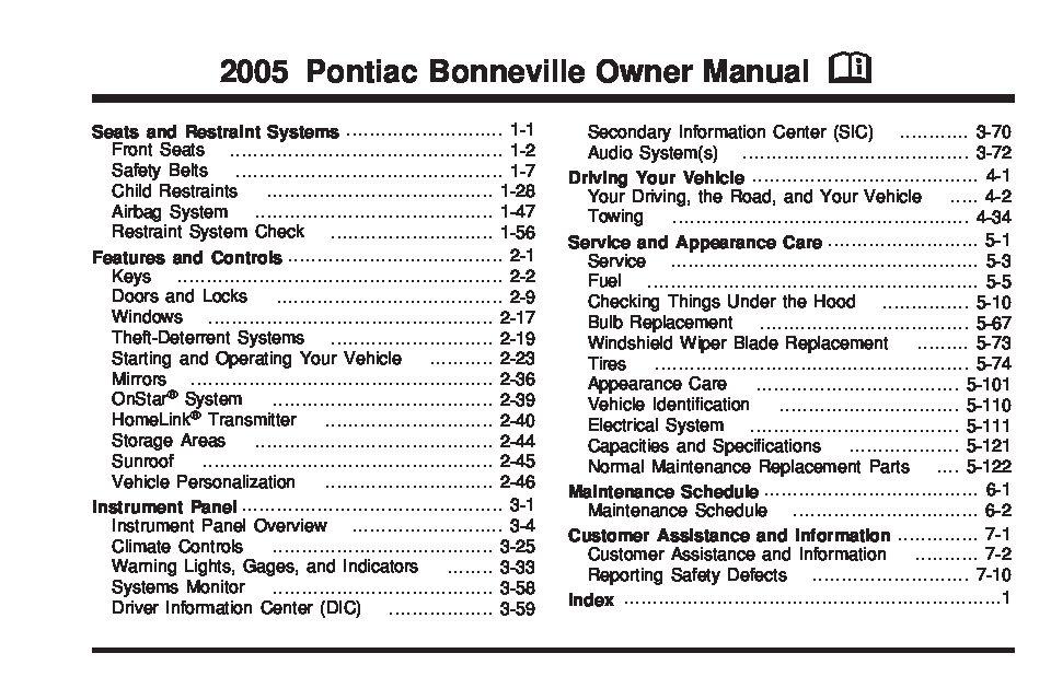 2005 pontiac bonneville owners manual just give me the damn manual rh justgivemethedamnmanual com 2000 Pontiac Bonneville 2005 pontiac bonneville owner's manual