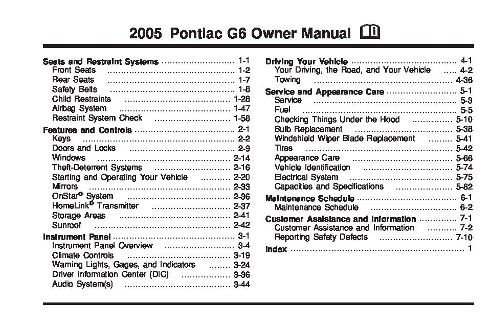 2005 pontiac g6 owners manual just give me the damn manual rh justgivemethedamnmanual com 2006 pontiac g6 gt coupe owners manual 2006 pontiac g6 owner's manual free