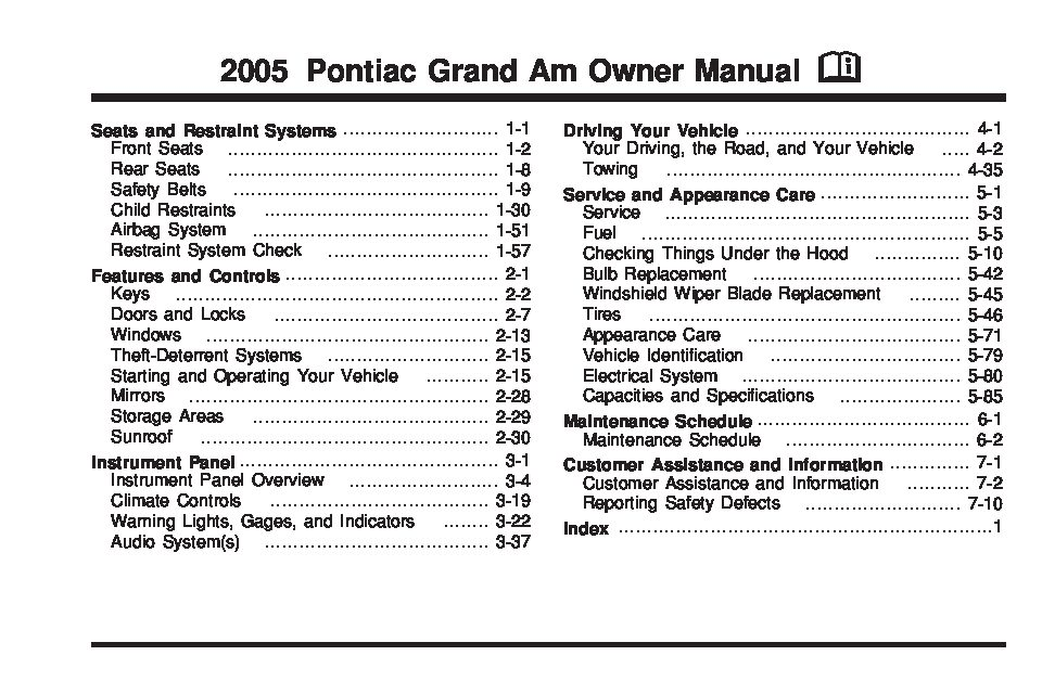 pontiac grand  owners manual  give