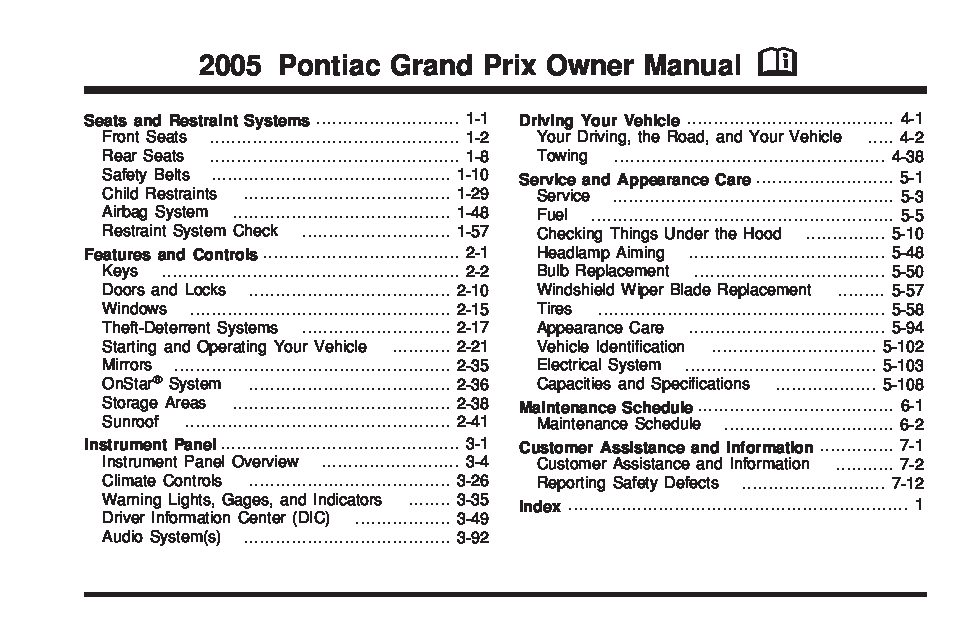 2005 pontiac grand prix owners manual just give me the damn manual rh justgivemethedamnmanual com pontiac grand prix owner's manual 2006 pontiac grand prix owner's manual
