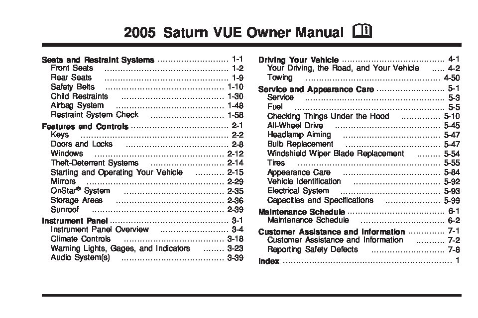 2005 saturn vue owners manual just give me the damn manual rh justgivemethedamnmanual com 05 Saturn Vue Interior Radios for 05 Saturn Vue