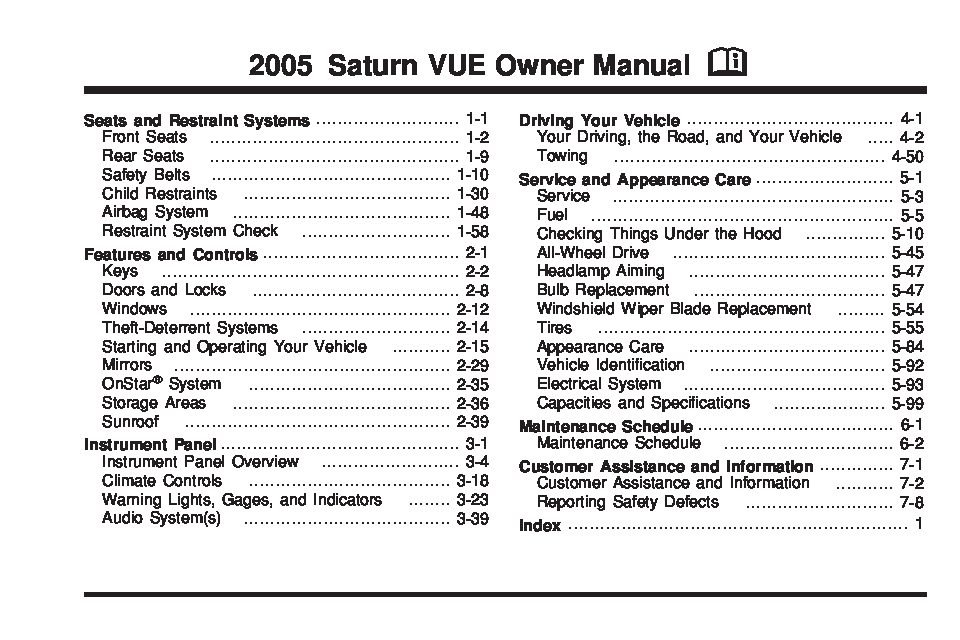 2005 Saturn Vue Owners Manual Just Give Me The Damn Manual
