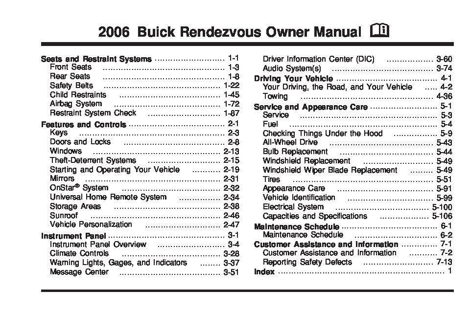 2006 buick rendezvous owners manual just give me the damn manual rh justgivemethedamnmanual com 2004 rendezvous owner's manual 2004 rendezvous owner's manual