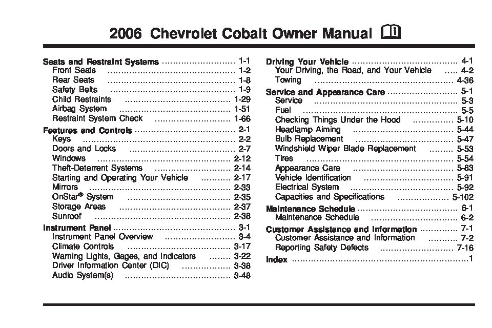 2006 chevrolet cobalt Owners Manual | Just Give Me The Damn