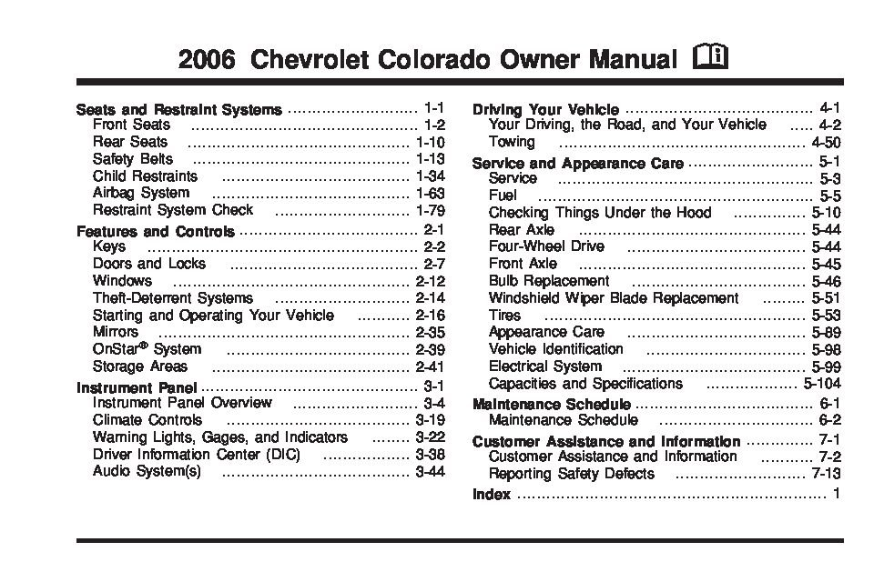 2006 chevrolet colorado owners manual just give me the damn manual rh justgivemethedamnmanual com Chevy Truck Manual Transmission Identification Chevy Truck Wiring Harness