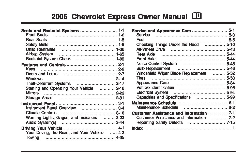 Chevy Cruze Lt >> 2006 chevrolet express Owners Manual | Just Give Me The ...