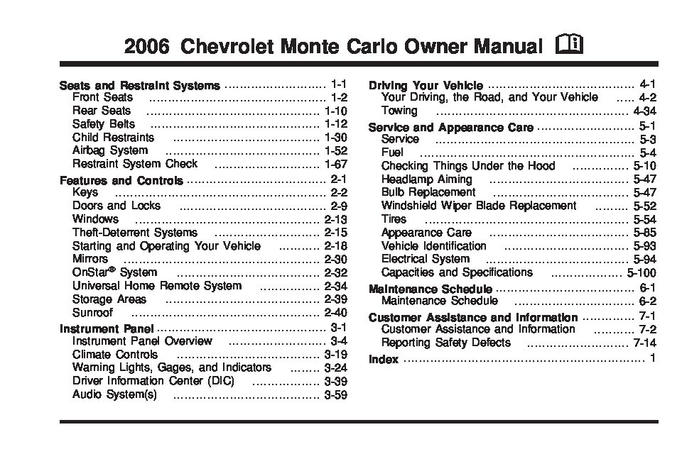 2006 chevrolet monte carlo owners manual just give me the damn manual rh justgivemethedamnmanual com 1998 monte carlo repair manual 1996 Monte Carlo
