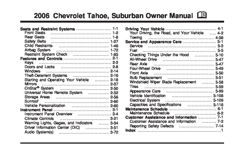 2006 chevrolet tahoe owners manual just give me the damn manual rh justgivemethedamnmanual com 2006 chevy tahoe service manual 2017 Chevrolet Tahoe