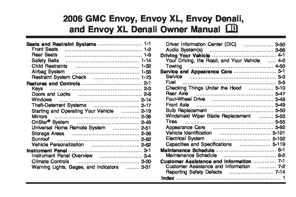 2006 gmc envoy owners manual just give me the damn manual rh justgivemethedamnmanual com 2004 gmc envoy owners manual free download 2004 gmc envoy owners manual