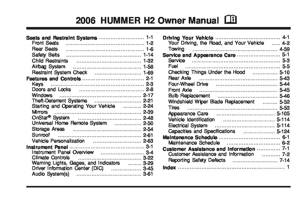 2006 hummer h2 owners manual just give me the damn manual rh justgivemethedamnmanual com Hummer H2 Repair Manual PDF Shop Hummer H2 Manual