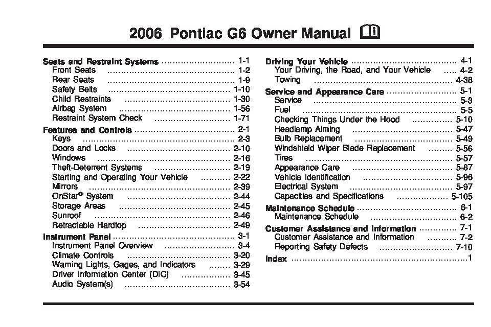 pontiac g6 manual 2006