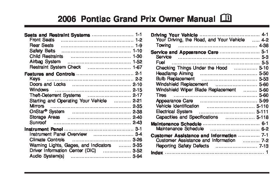 2006 pontiac grand prix owners manual just give me the damn manual rh justgivemethedamnmanual com 2006 pontiac grand prix repair manual 2006 Pontiac Grand Prix Interior