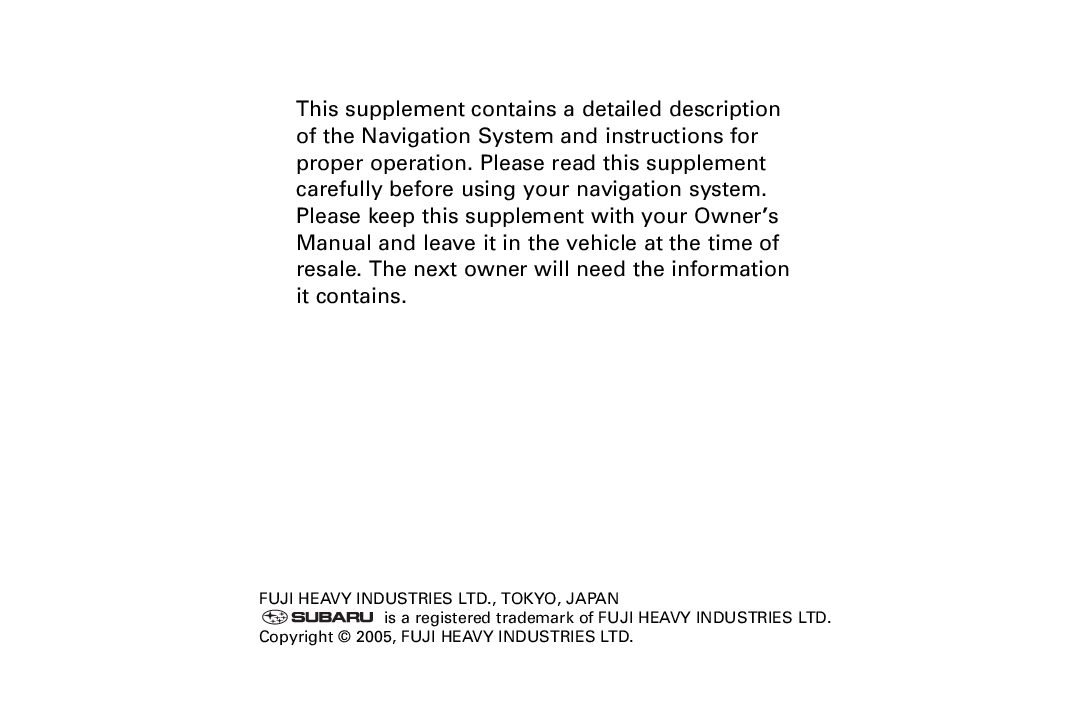 2006 subaru legacy-and-outback navigation-system Owners Manual