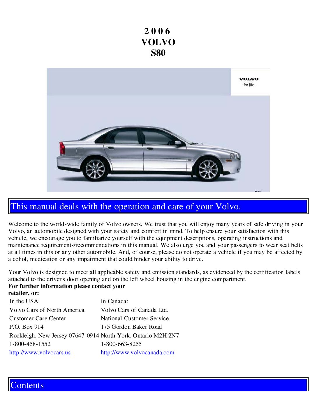 2006 volvo s80 Owners Manual | Just Give Me The Damn Manual