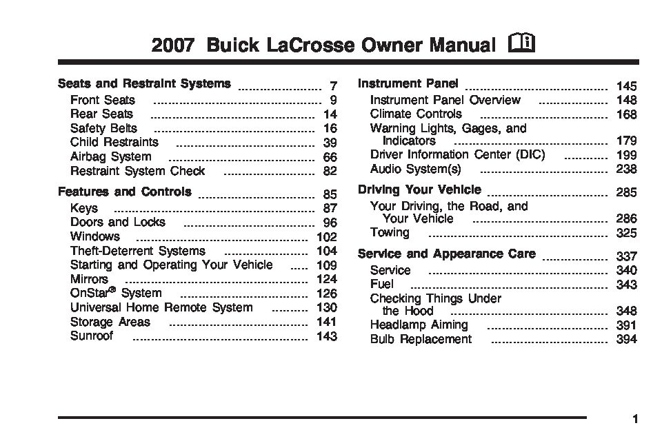 2011 buick lacrosse owners manual