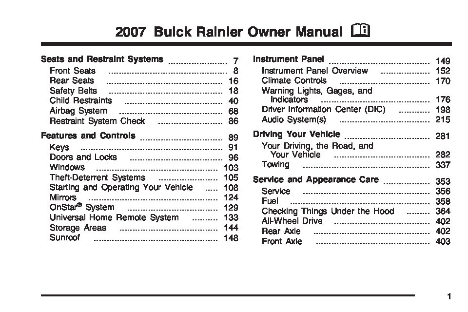 2007 buick rainier owners manual just give me the damn manual rh justgivemethedamnmanual com buick rainier repair manual free buick rainier repair manual