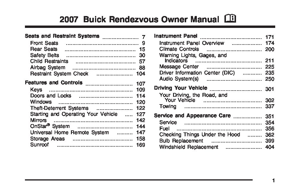 2007 buick rendezvous owners manual just give me the damn manual rh justgivemethedamnmanual com 2002 buick rendezvous owner's manual 2005 rendezvous owner's manual