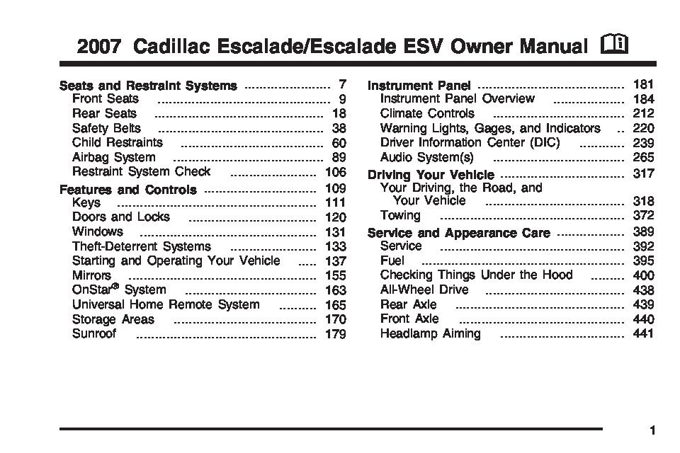 2007 cadillac escalade owners manual just give me the. Black Bedroom Furniture Sets. Home Design Ideas