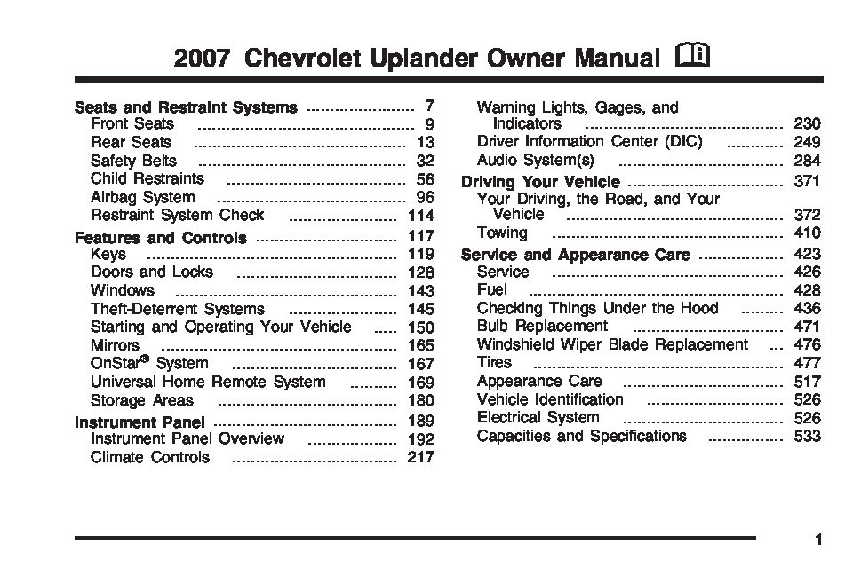 2007 chevrolet uplander owners manual just give me the damn manual rh justgivemethedamnmanual com 2007 chevy uplander service manual 2007 chevrolet uplander owners manual