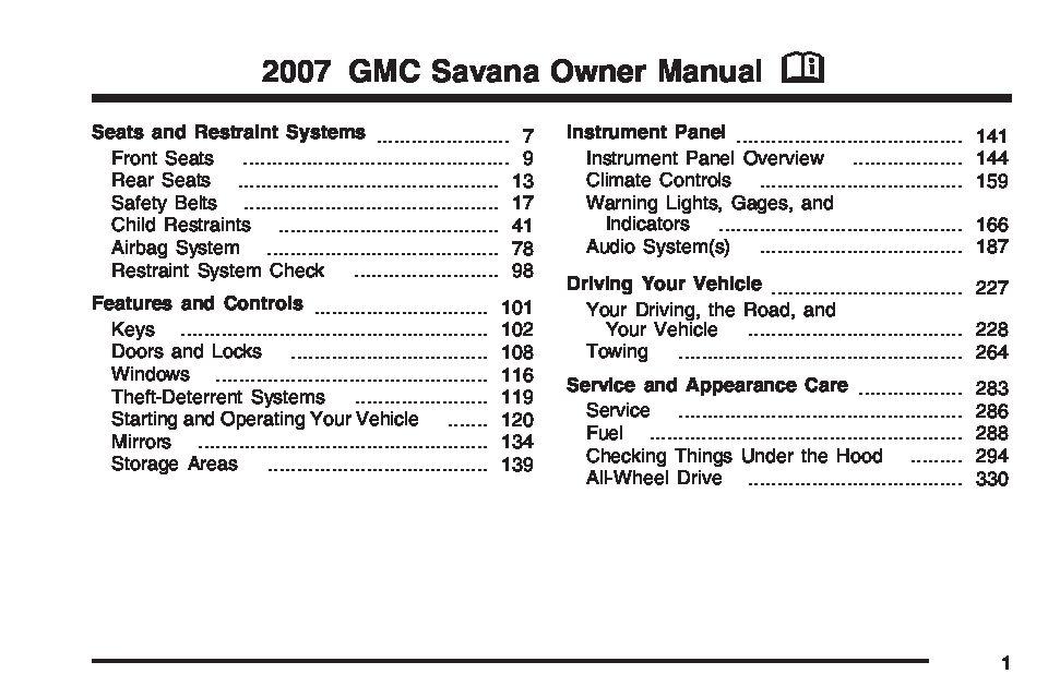 2007 gmc savana owners manual just give me the damn manual rh justgivemethedamnmanual com 2006 gmc savana owners manual Operators Manual