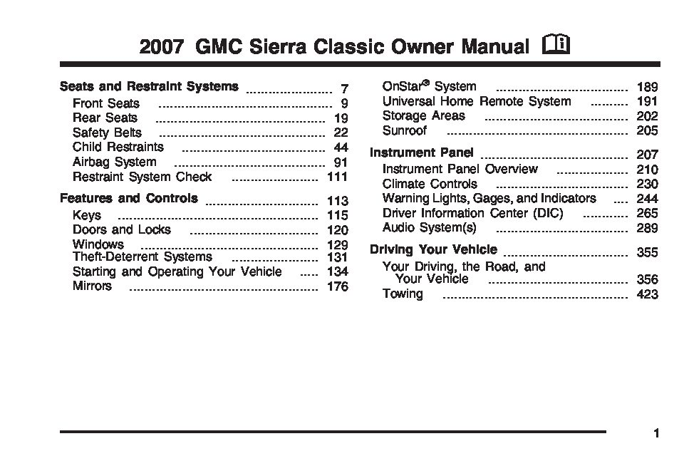 2007 Gmc Sierra Owners Manual
